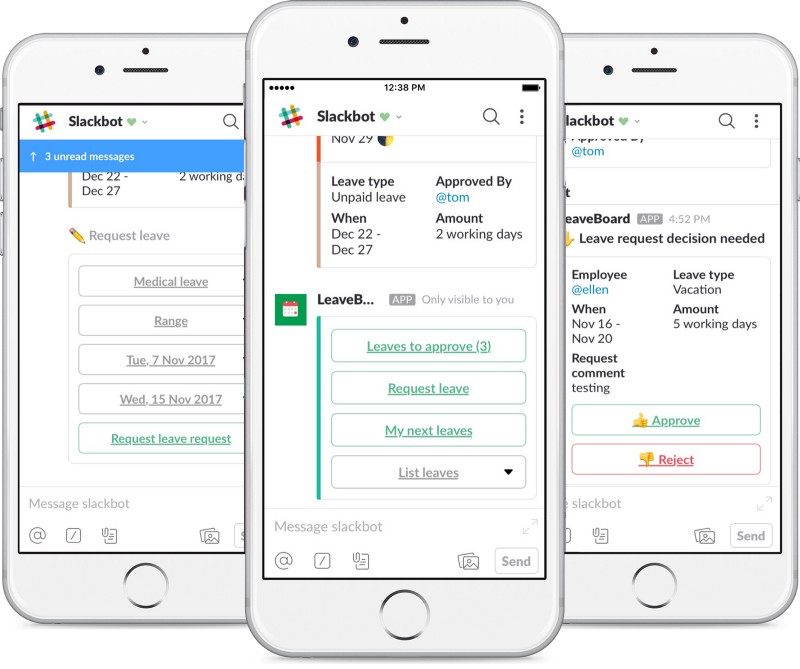 Slack integration allows users to book, track, and approve leave from within Slack channels