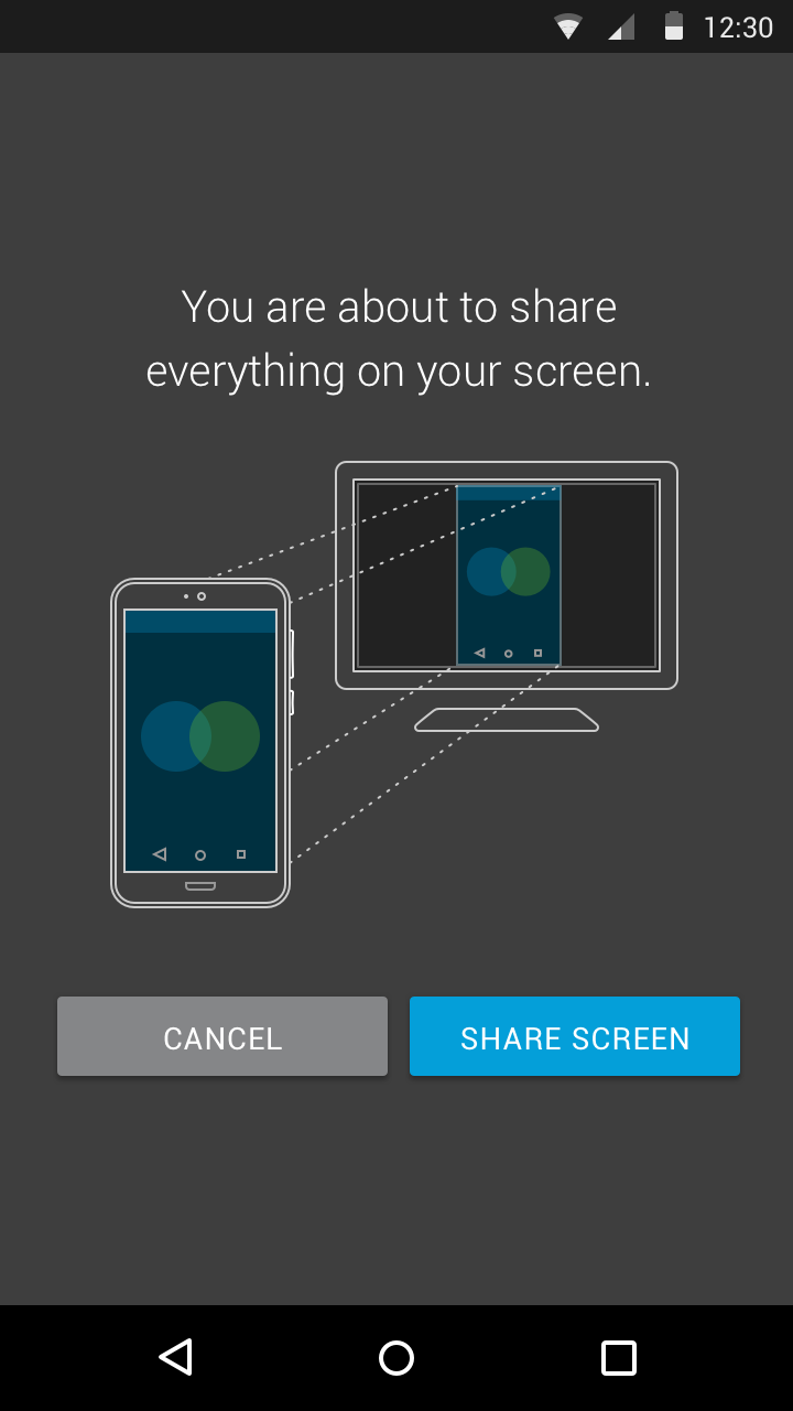 Before screen sharing begins, Cisco Webex confirms that the user wants their screen to be seen
