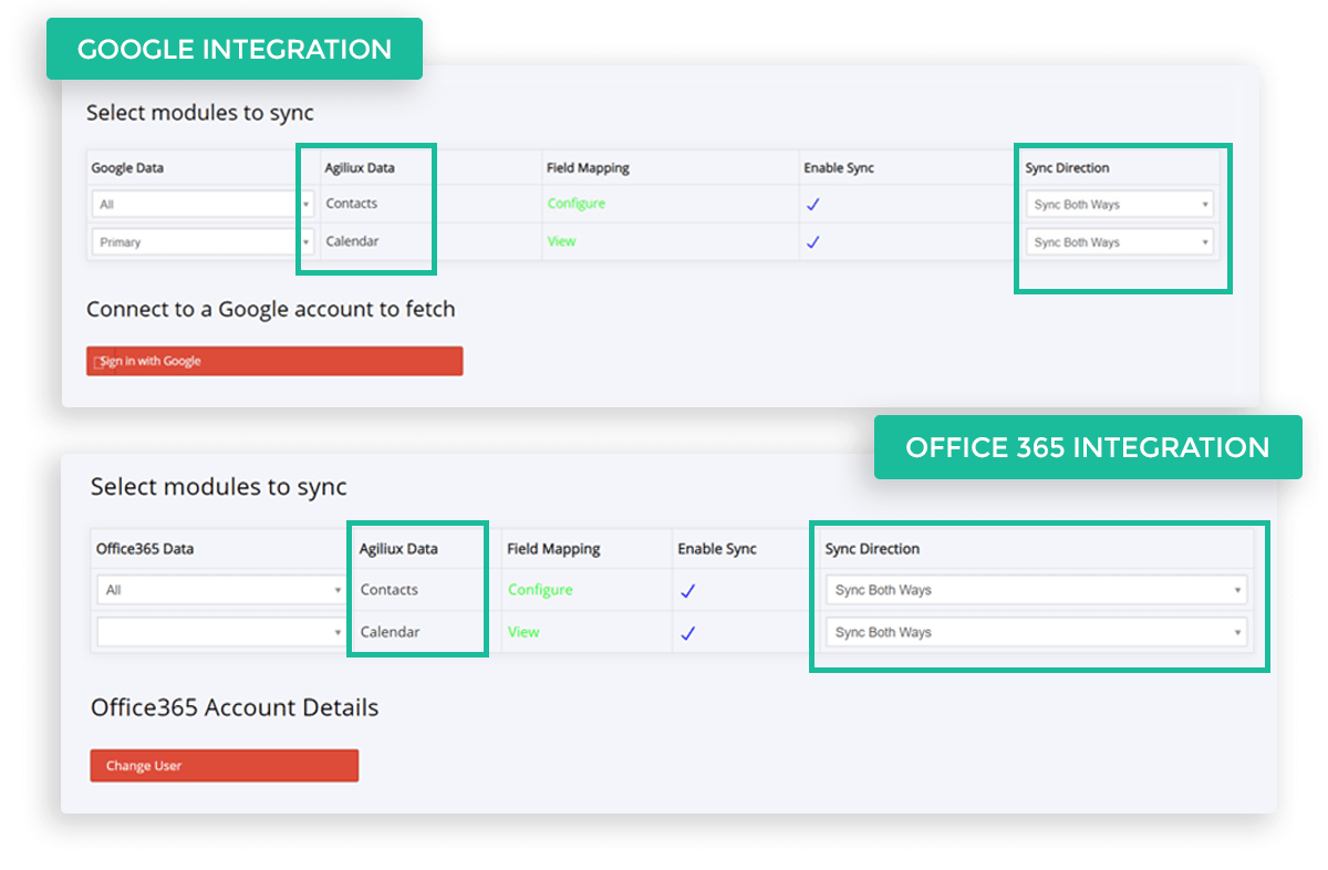 Second CRM has built-in integration with Google Apps or Office365, which allows easy syncing of Contacts and Calendar activities inside Second CRM with the respective applications, both ways.