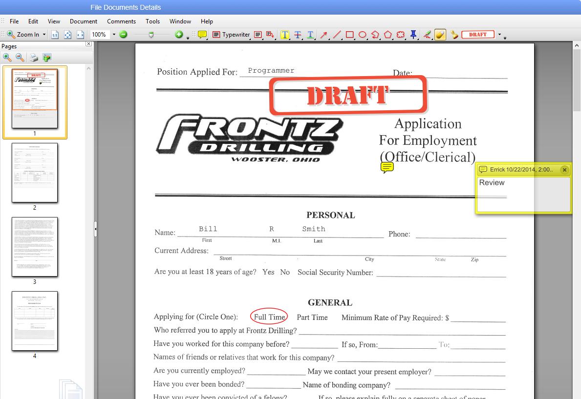 Application draft