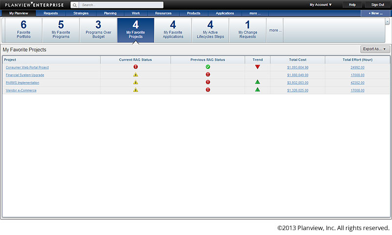 Track project statuses in Planview