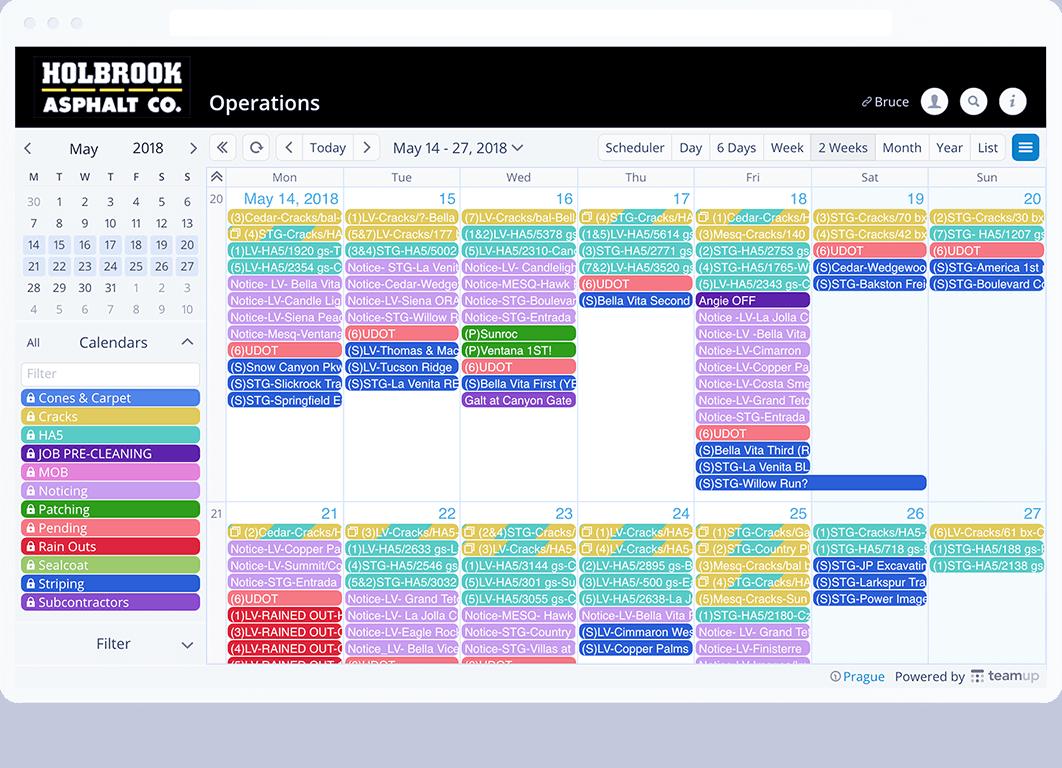 TeamUp calendar view