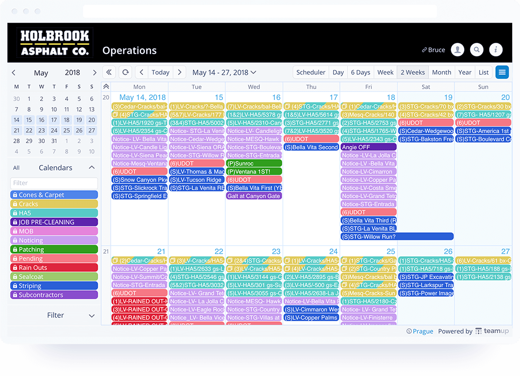 Teamup Software - TeamUp calendar view