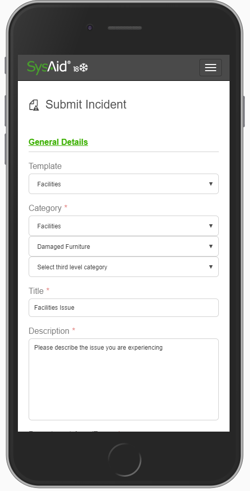SysAid's Self-Service Portal has a responsive interface that allows your end users to submit tickets from their mobile devices.