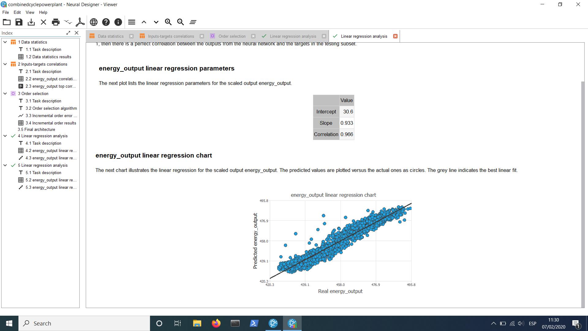 Neural Designer linear progression