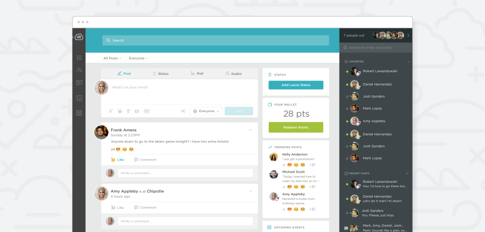 Workmates screenshot: Check and comment on social posts