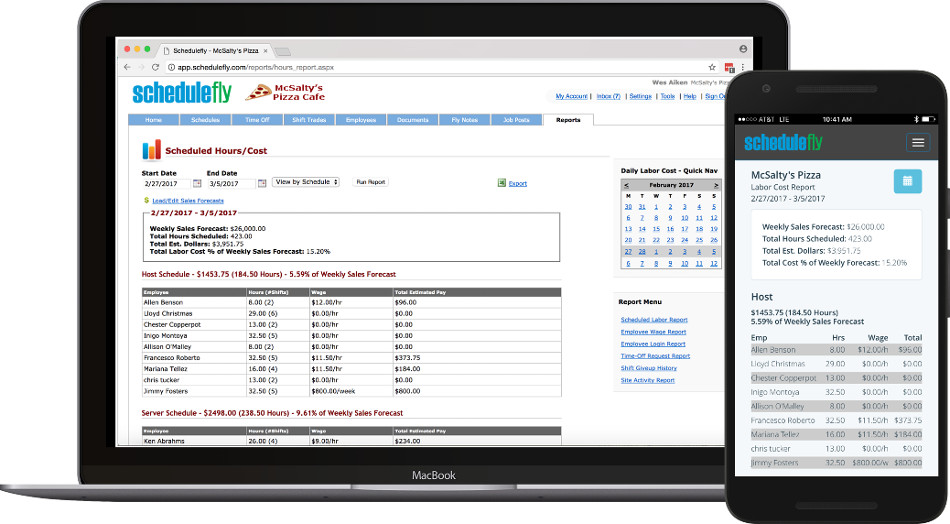Keep an eye on what your scheduled labor costs. Quickly view labor costs as the schedule is built and changes throughout the week. Keep tabs on labor costs as a % of your sales forecasts.