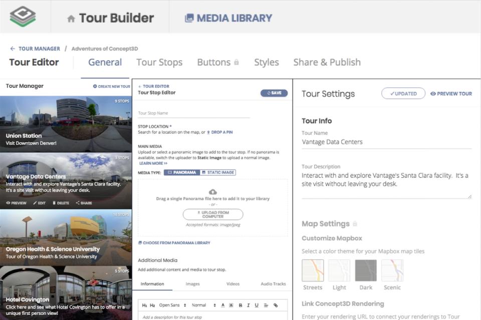 Concept3D screenshot: Concept3D: content management system screenshot