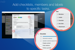 Trello screenshot: Checklists, members, and labels can be added to individual tasks
