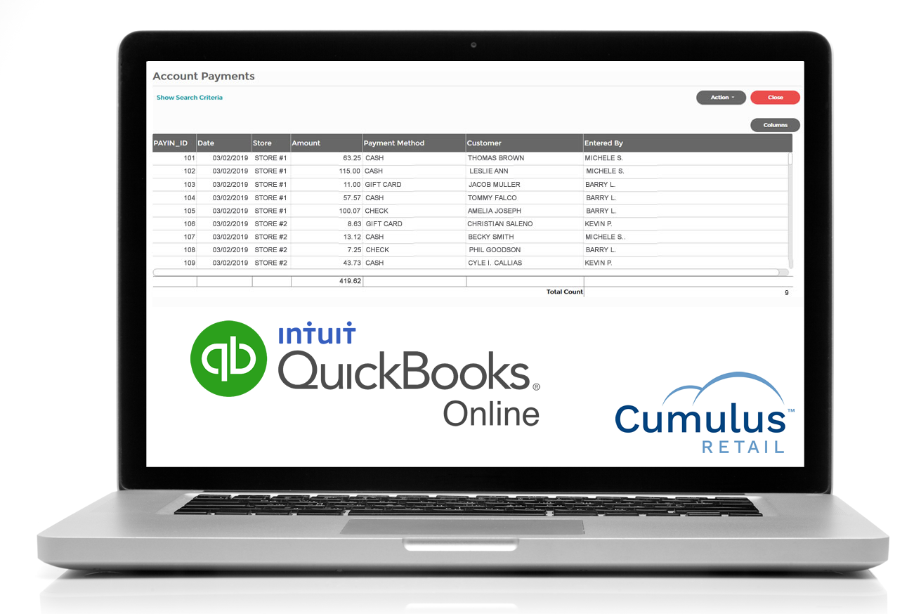 Cumulus integrates with Quickbooks Online for easy accounting.
