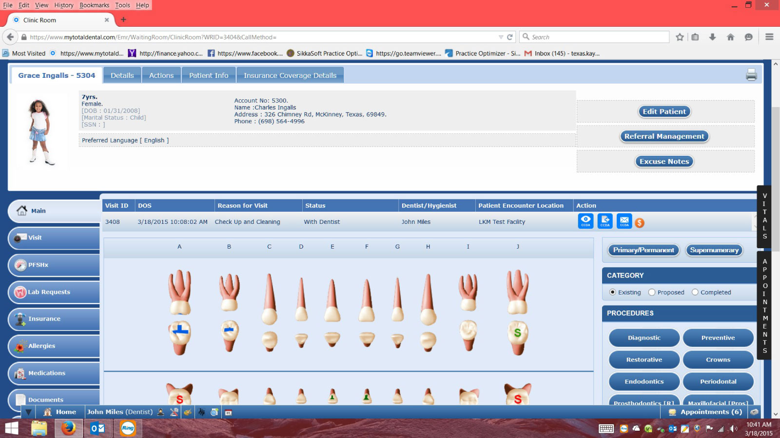 Total Dental Software - Patient - Chart View