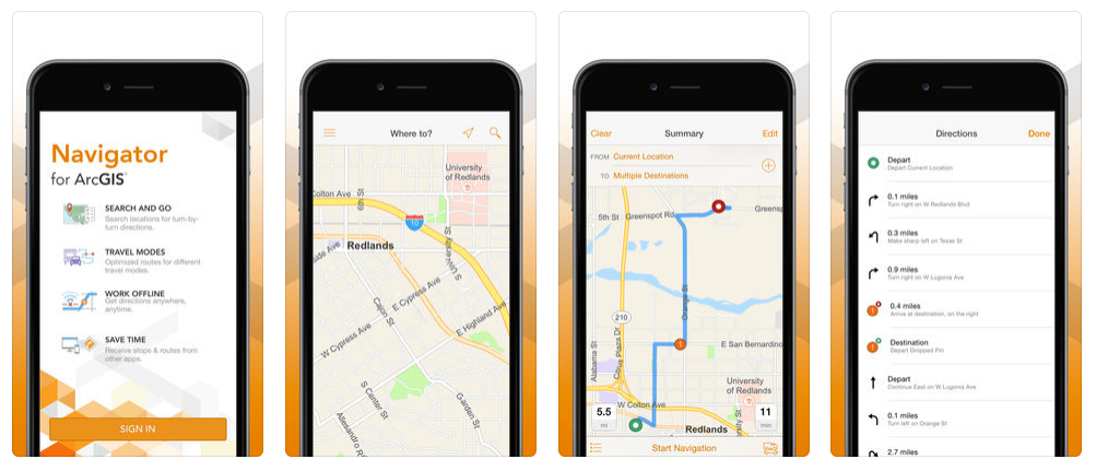 Navigator for ArcGIS is a companion mobile app for iOS and Android, providing map-based navigation for field-based workers