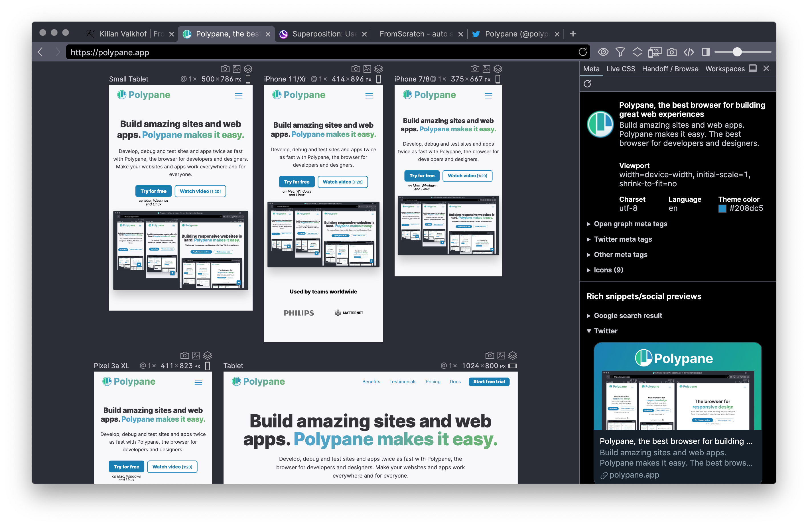 Polypane interface showing multiple synced panes in Dark mode