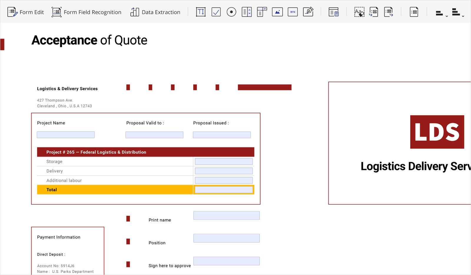 PDFelement form editing