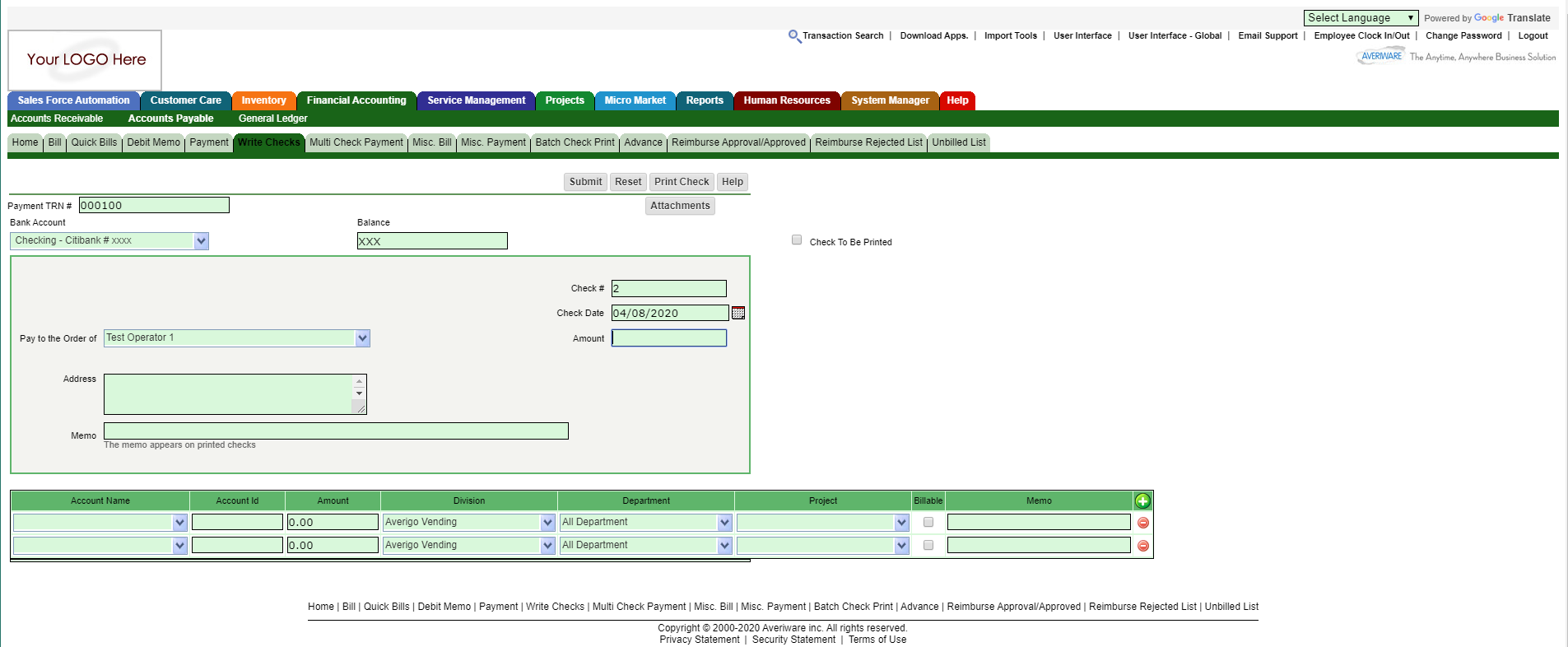 Averiware Software - Averiware Integrated Invoicing