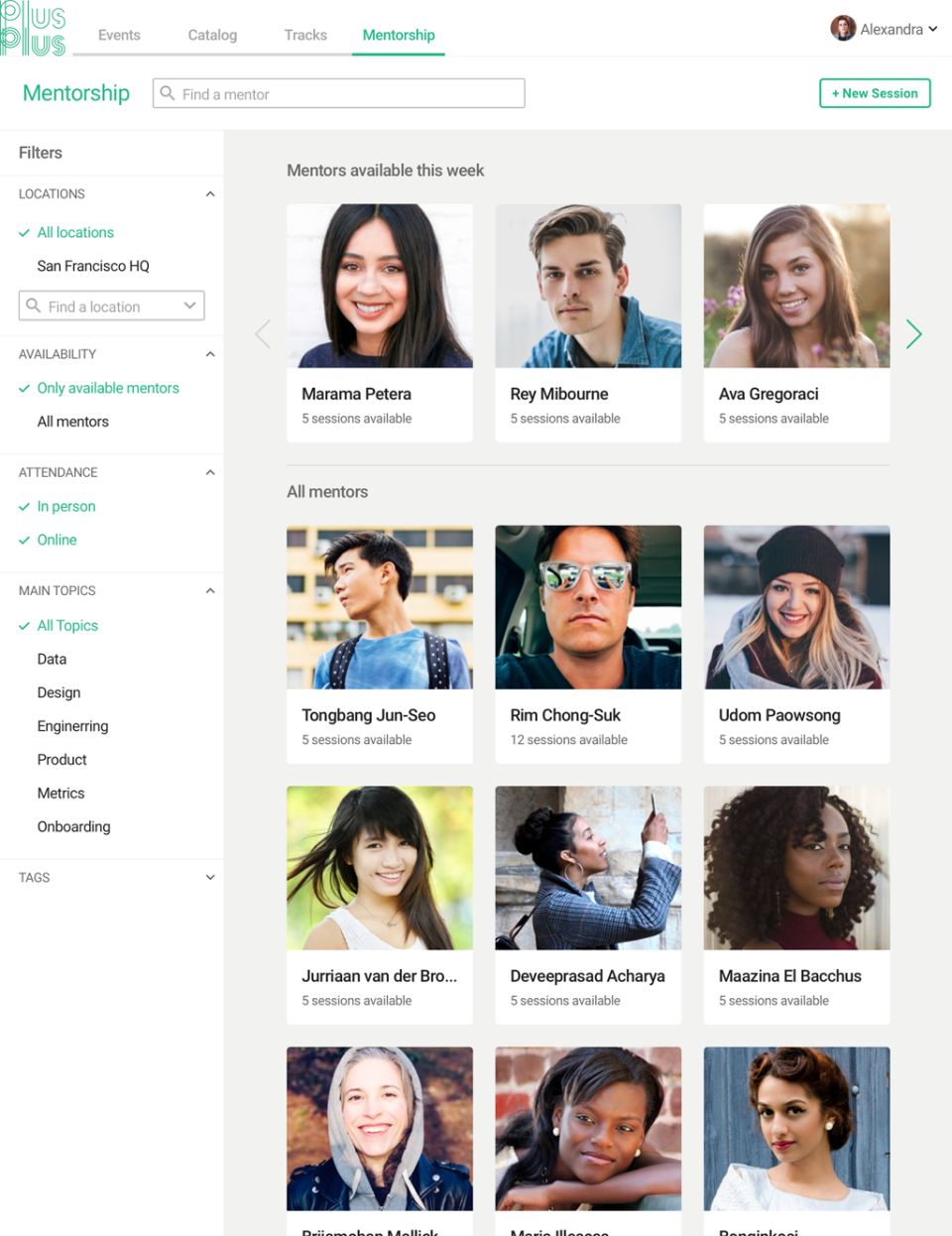 PlusPlus mentors availability