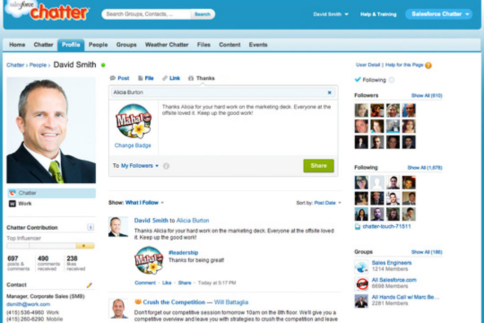 Salesforce Work.com Software - Chatter Integration