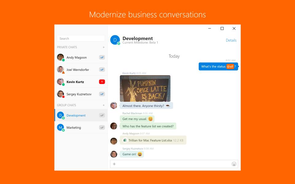 Trillian screenshot: Modernize business conversations