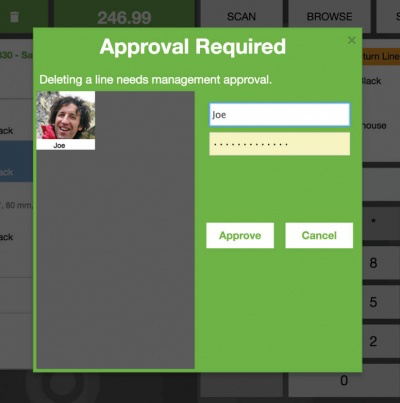 Manager approvals ensure that certain operations can only be carried out when authorized
