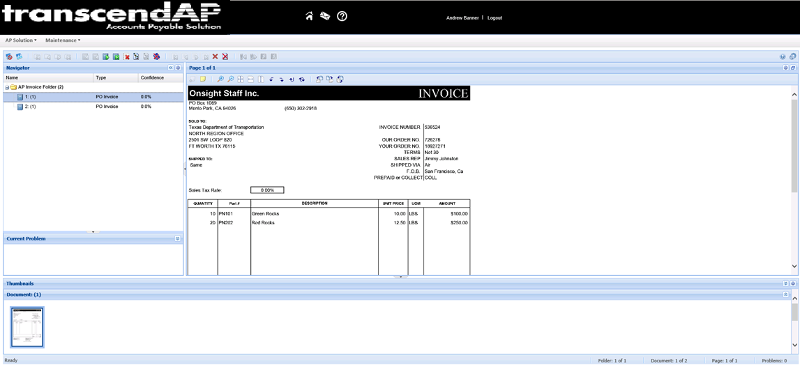transcendAP invoice review activity