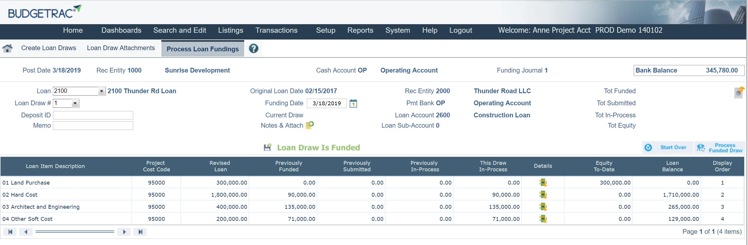 Loan draw process