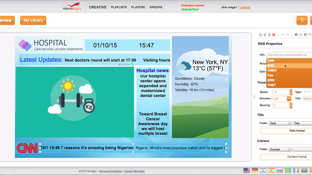 NoviSign Digital Signage presentation editor