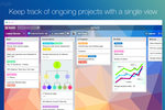 Captura de pantalla de Trello: Ongoing projects can be tracked in a single view