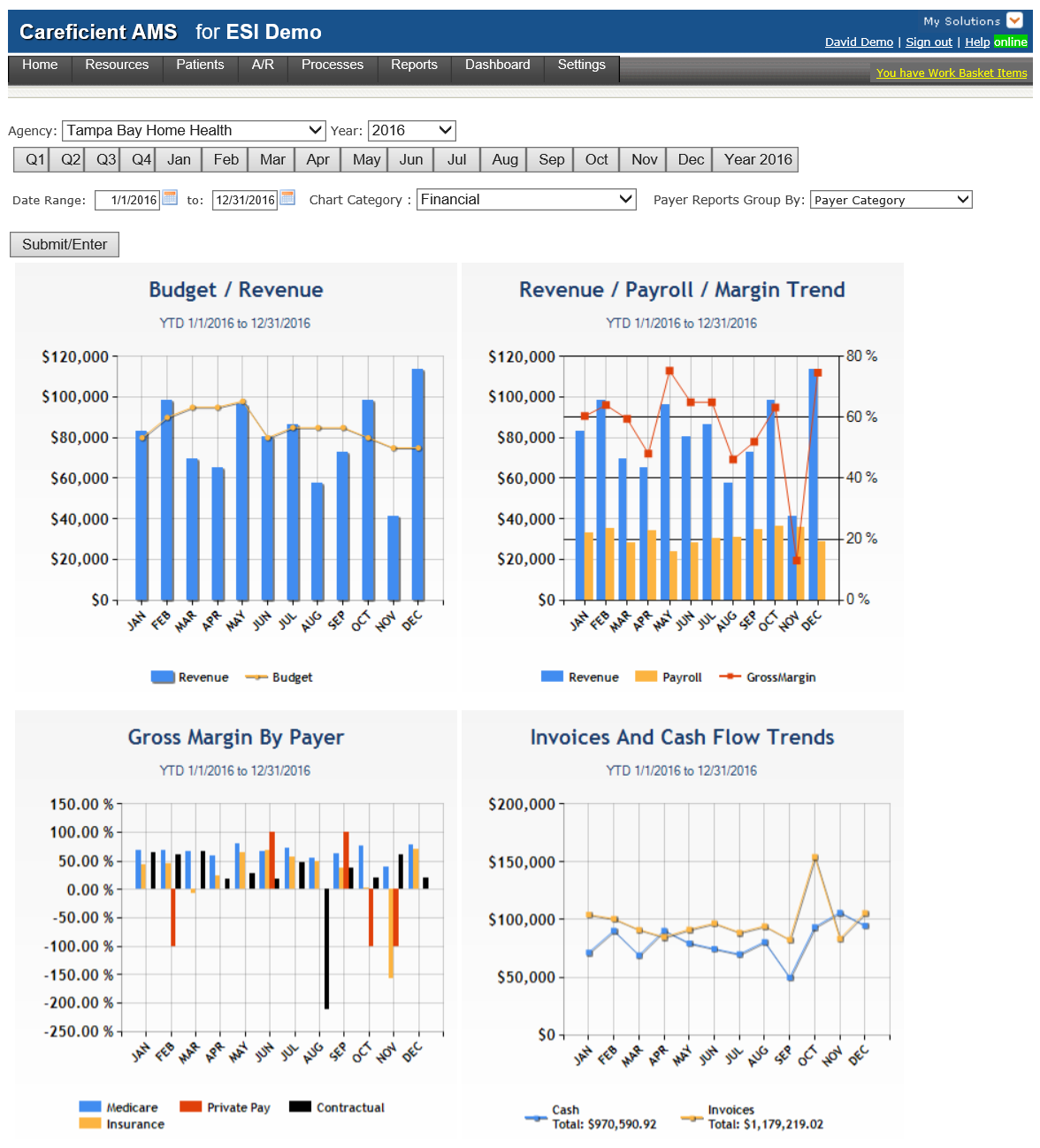 Careficient reporting dashboard