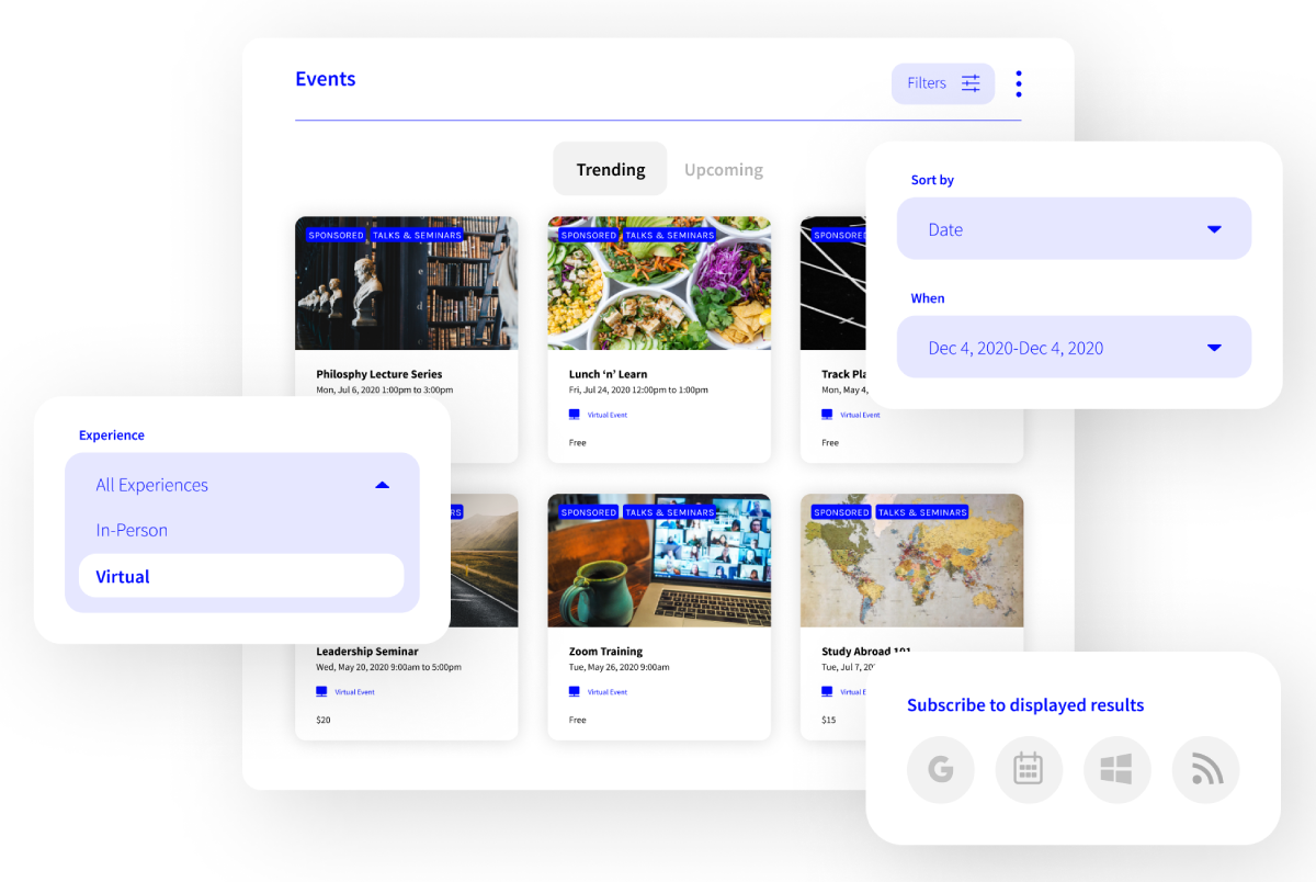 Localist screenshot: Bring all your events into a single interactive calendar to provide a centralized experience for all visitors.