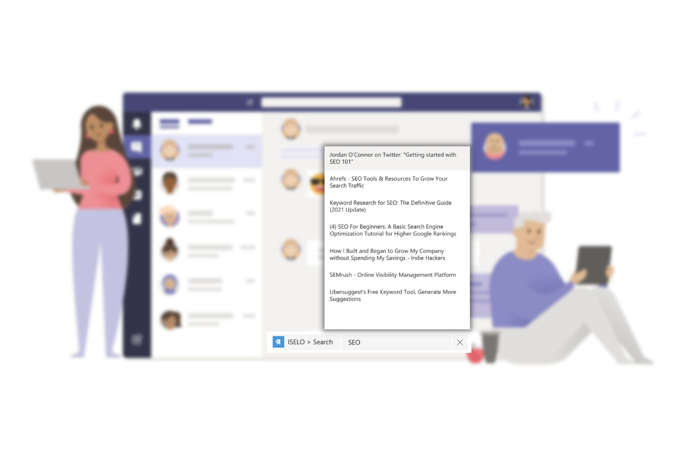 Search contents from ISELO while chatting in Microsoft Teams and post to fellow members as needed