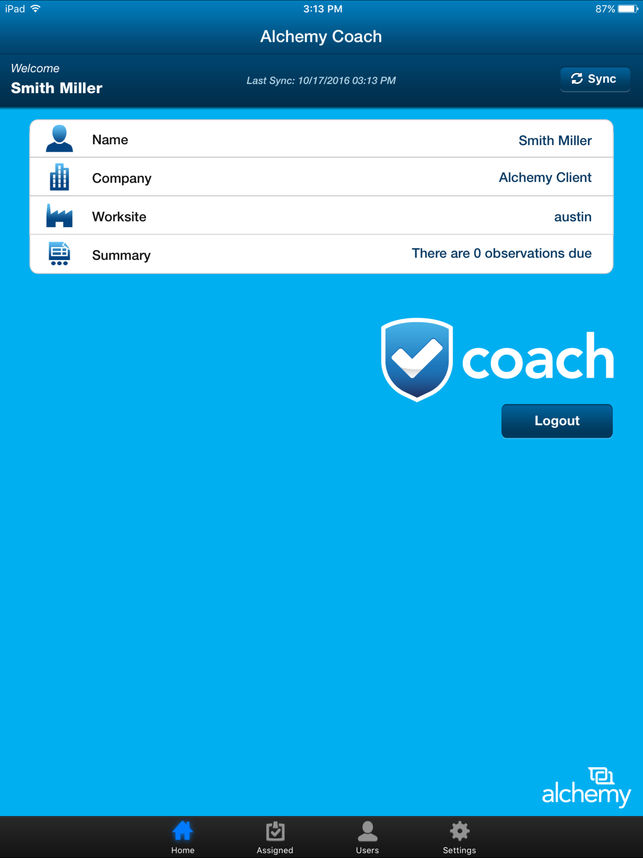 View user information such as name, position, or worksite via the iPad app