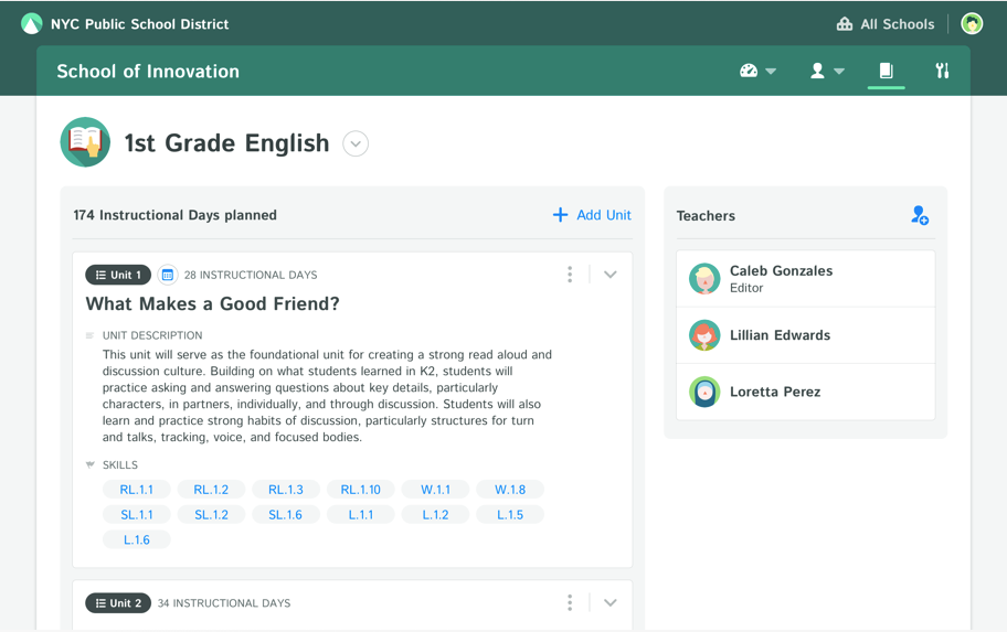 Import or build curriculum, and share school-wide