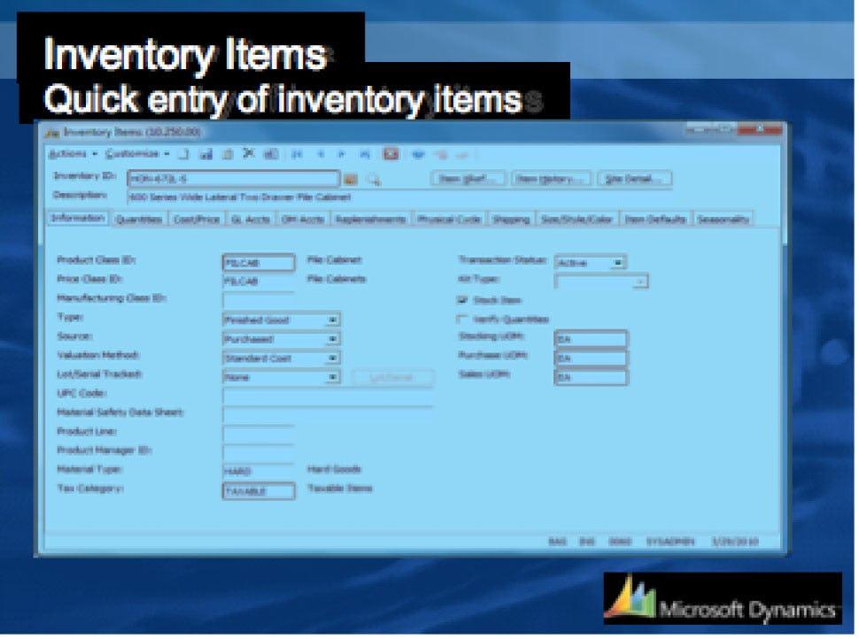 Microsoft Dynamics SL Software - Inventory Items