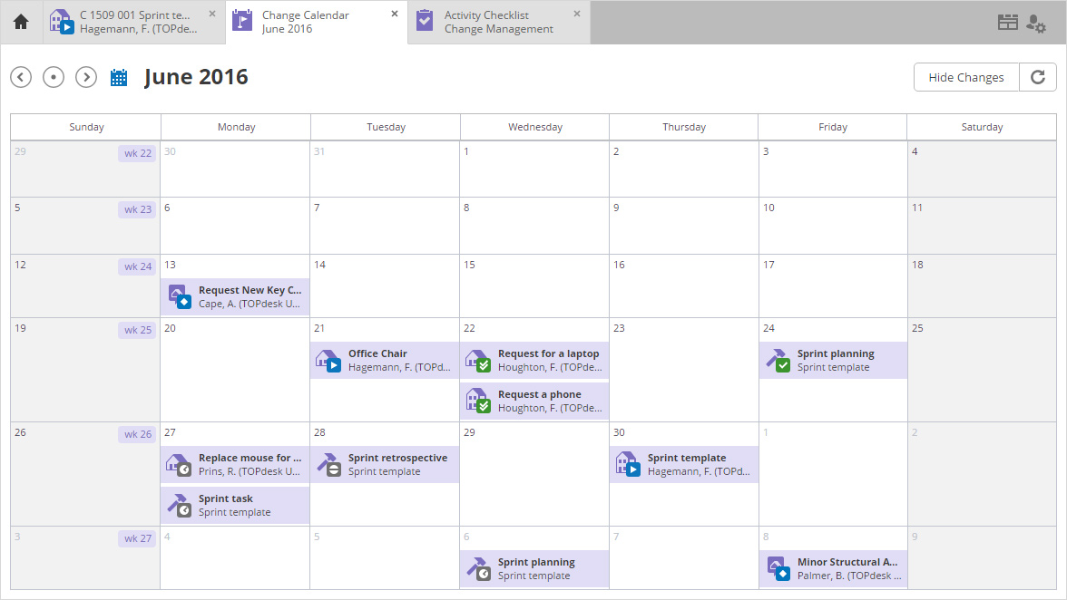 Schedule changes within the calendar to ensure that tasks do not overlap or interrupt employee work