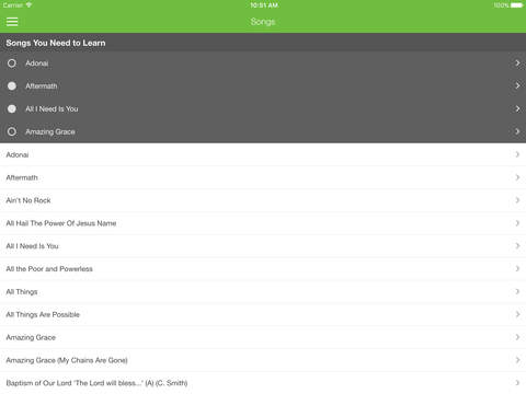 Elvanto app for iOS showing song lists on iPad