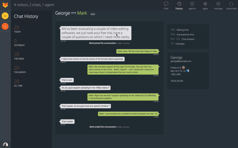 HappyFox Chat chat history