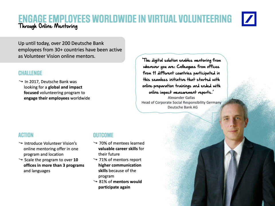 Volunteer Vision Software - Our Use Case with Deutsche Bank.