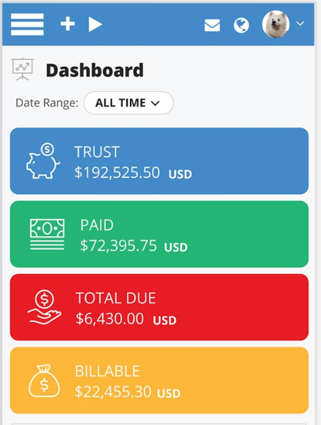 PracticePanther mobile dashboard