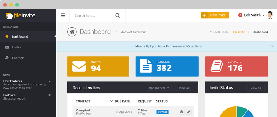 Receive questions and messages from clients straight to the main app dashboard