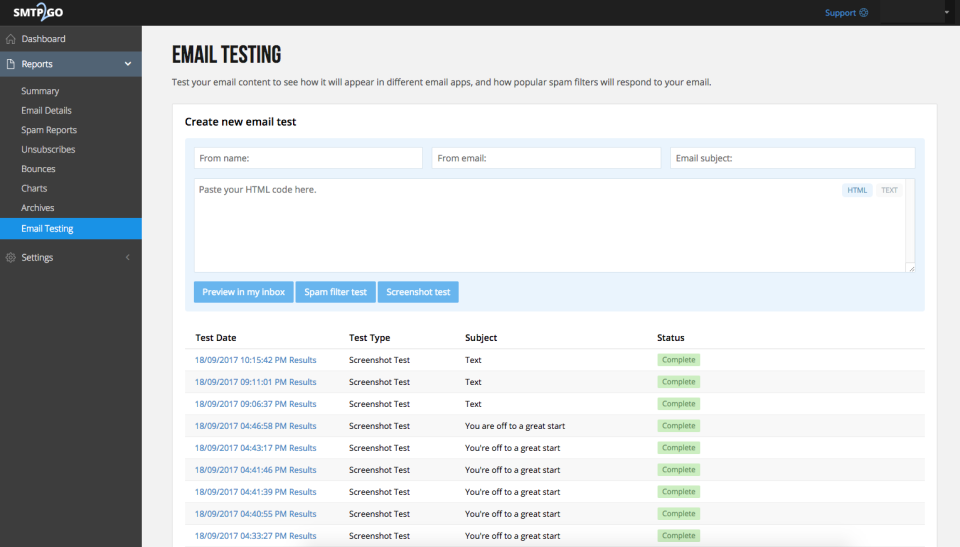 SMTP2GO: Email testing
