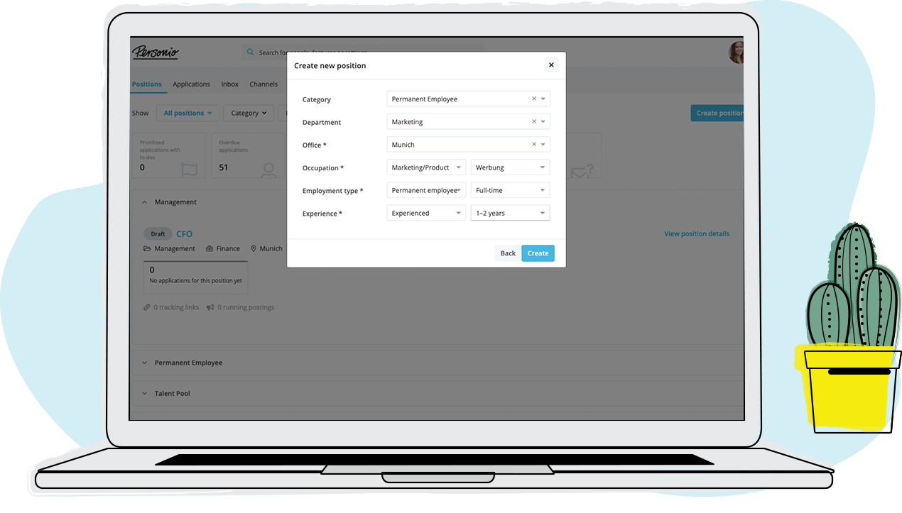 Create and publish job ads on almost 500 portals, keep an eye on which channels work best, and impress candidates with your own career page – all in a single tool.
