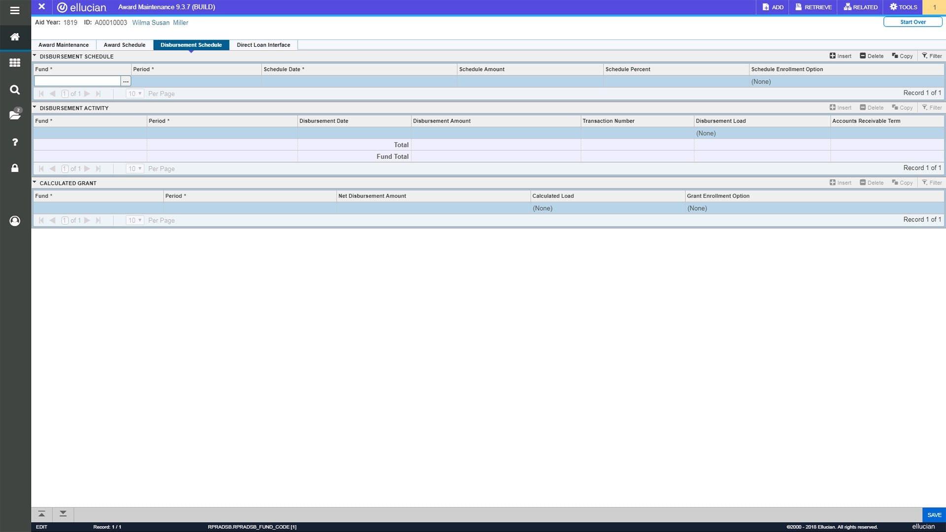 Ellucian Software - Disbursement schedule
