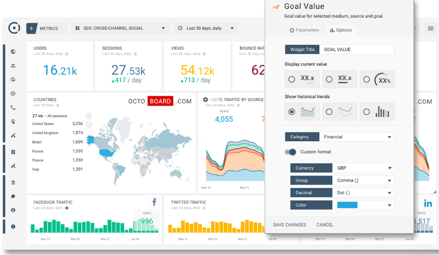 Octoboard for Agencies real-time comparisons