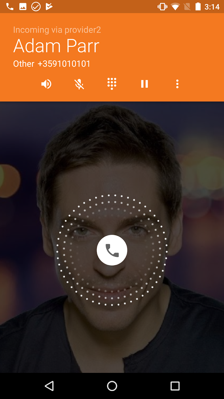 An incoming call displayed within the Zoiper Pro app for Android, highlighting that incoming calls are acknowledged across multiple providers