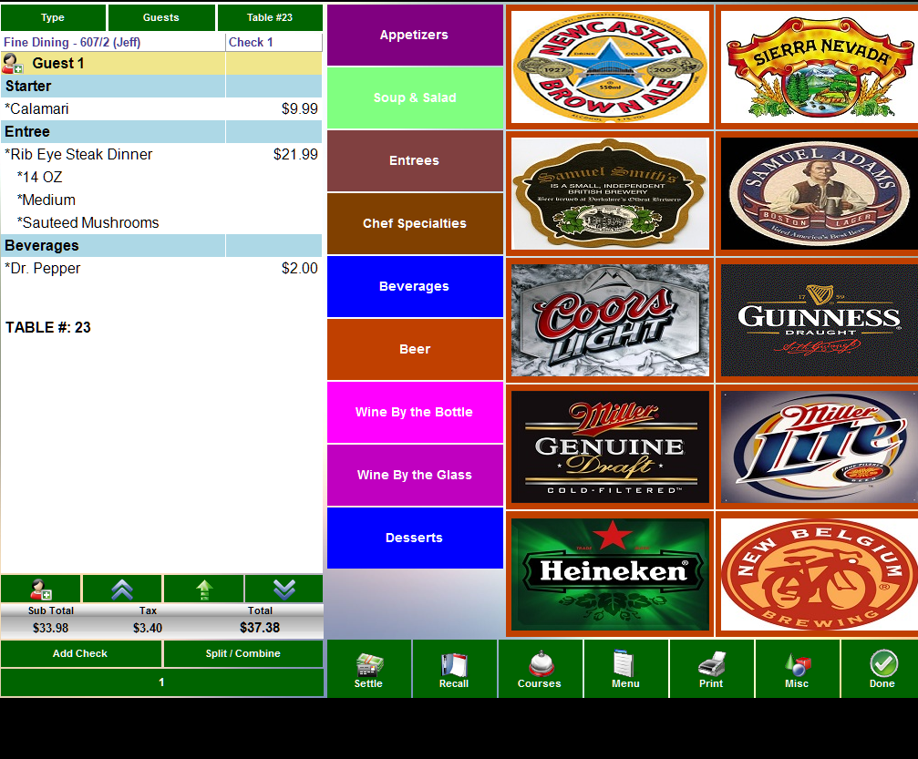 Beverage ordering screen