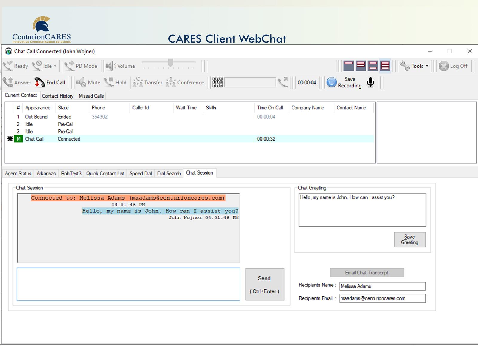 CARES Webchat Dashboard