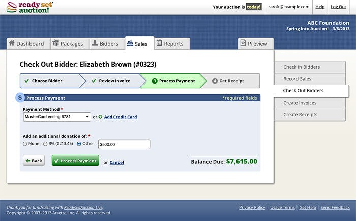 ReadySetAuction Software - Make a payment