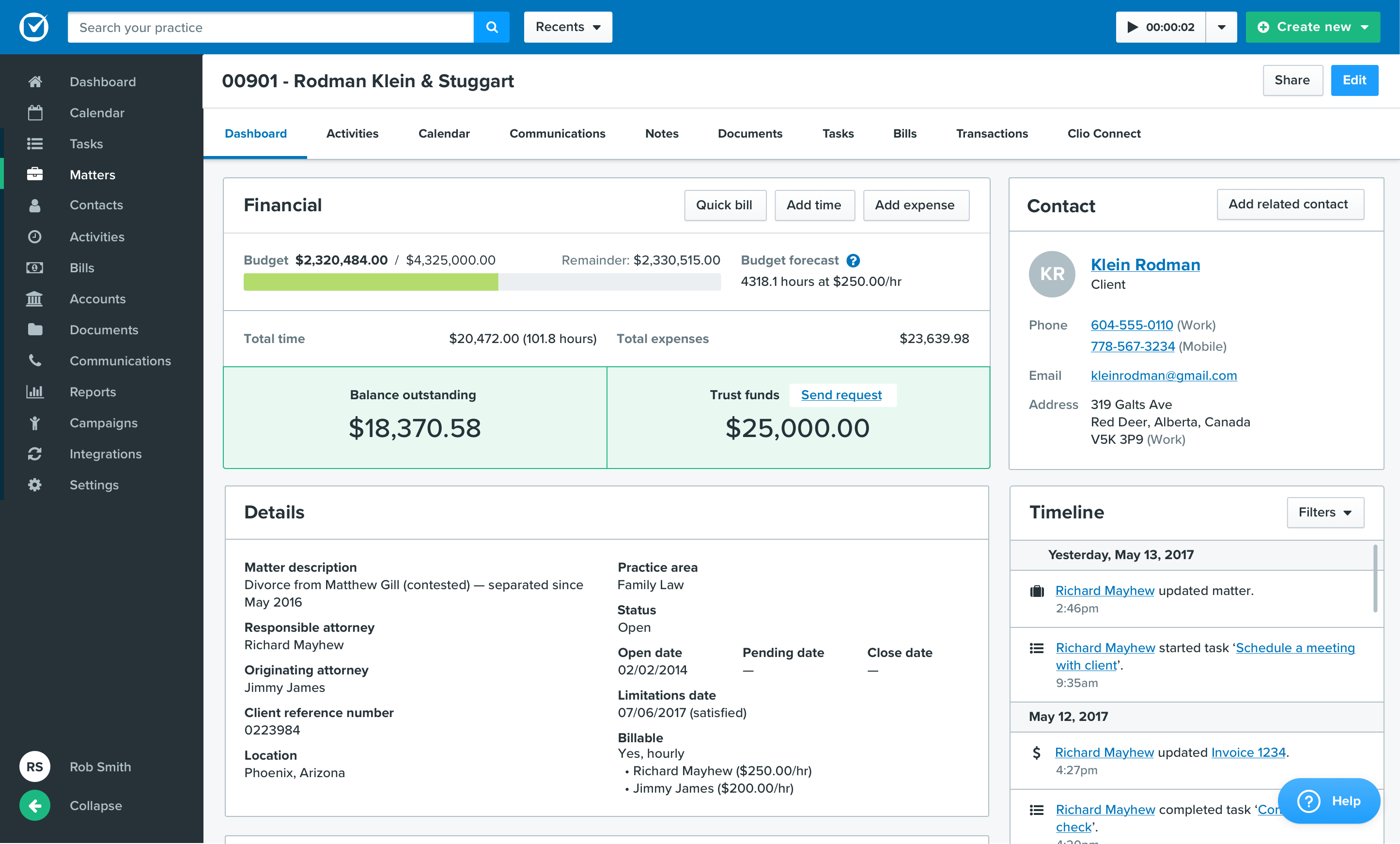 Clio screenshot: With the Matter Dashboard in Clio Manage, easily see critical matter details, billing information, and matter milestones at a glance.
