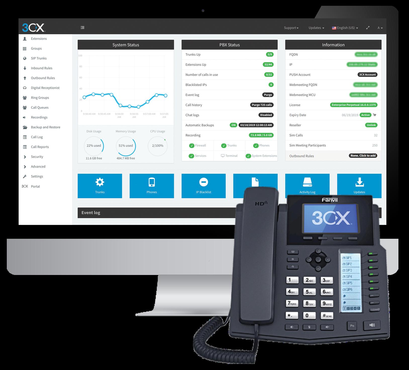 3CX Software - 3CX management console
