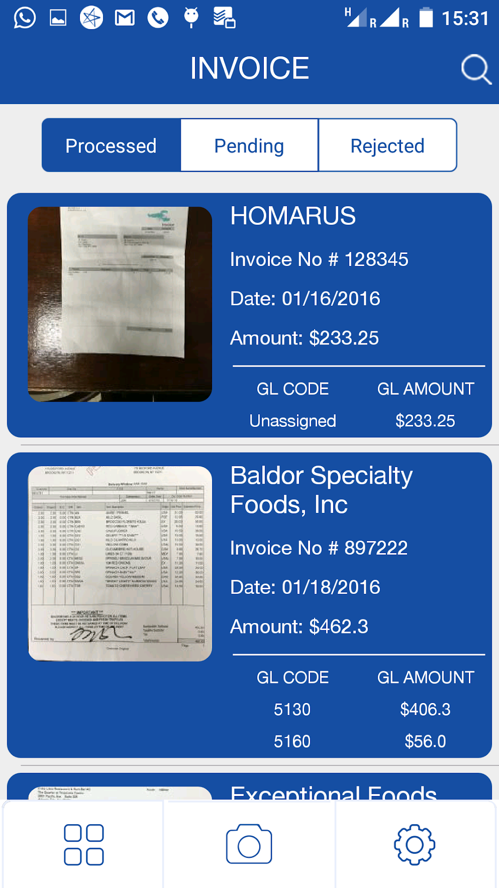 Invoices are processed, stored, and archived within the system